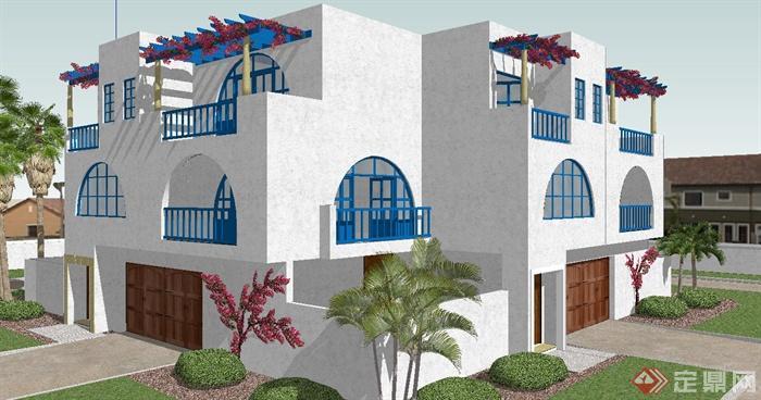 西班牙风格正方形三层别墅建筑sketchup模型[原创]