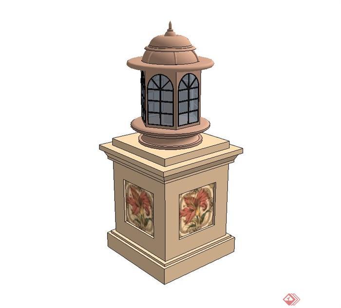 欧式庭院景观灯设计su模型(3)