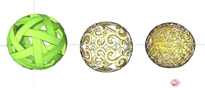 镂空球雕塑小品su模型