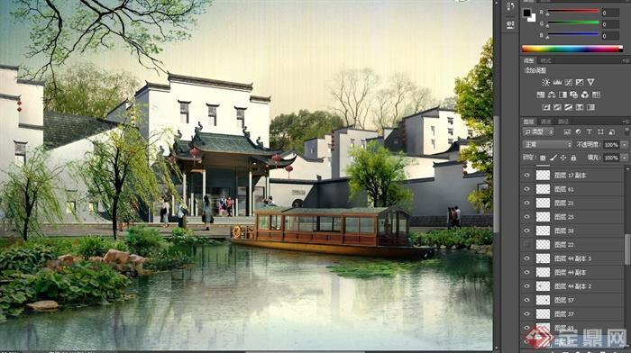 古典中式滨水酒店景观规划设计psd效果图[原创]