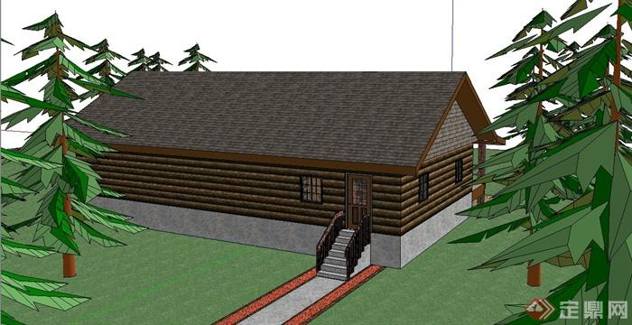 某单层木质小会所小别墅建筑sketchup模型[原创]