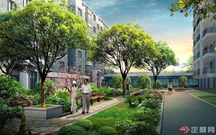 某住宅小区中庭景观设计psd格式效果图[原创]