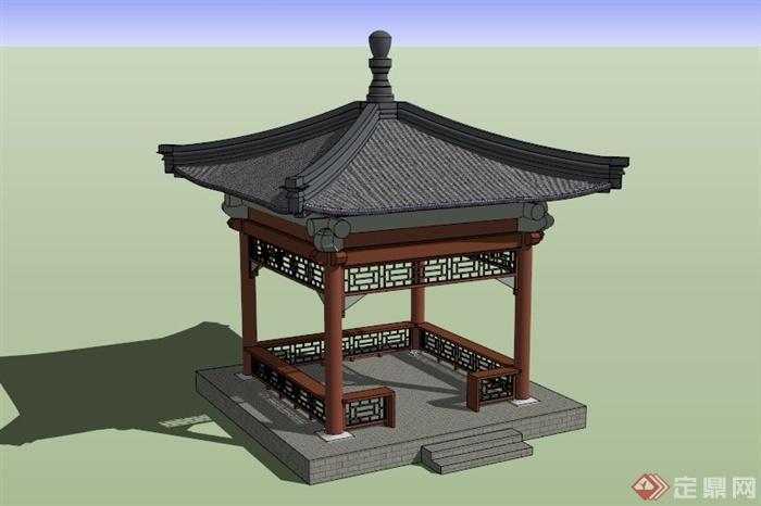 古典中式四角木亭设计su模型图片