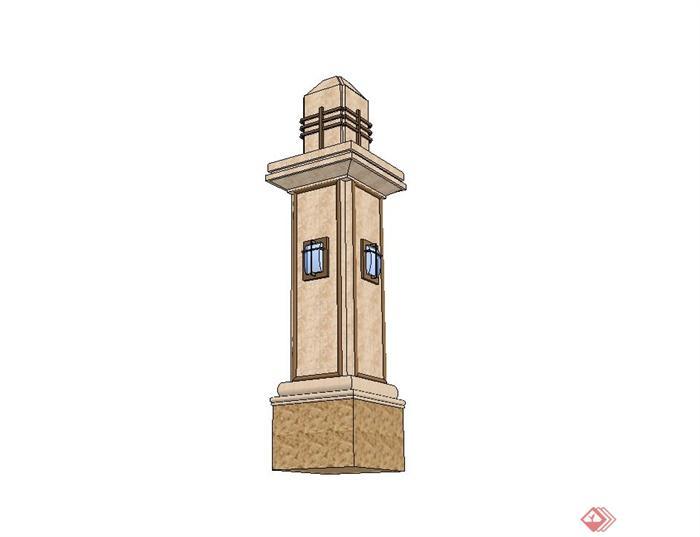 欧式景观柱子设计su模型(2)图片