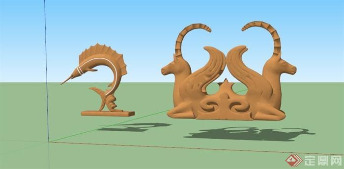 现代动物雕塑组合su模型