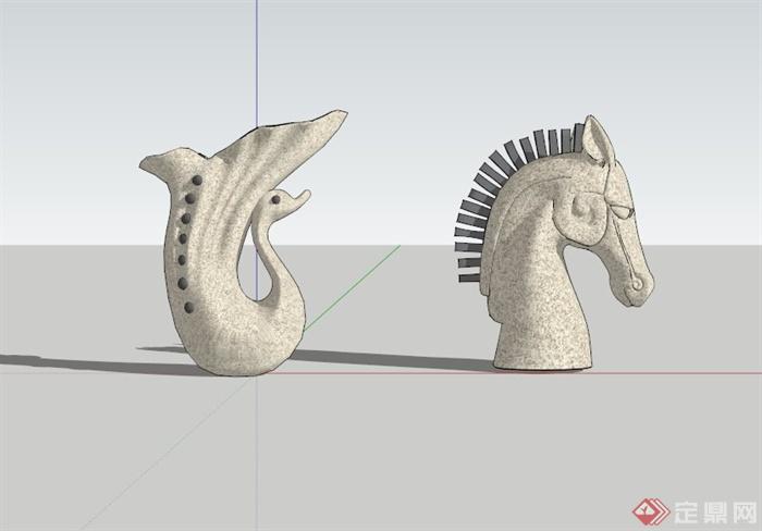 马头动物雕塑小品su模型