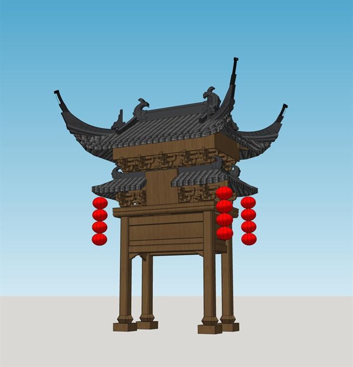 古典中式牌楼牌坊设计su模型