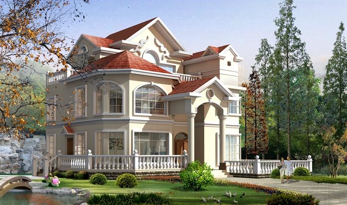 三层豪华欧式复式别墅建筑含庭院设计cad施工图