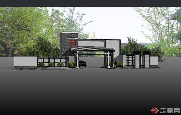 某现代中式小区大门入口设计su模型(2)图片