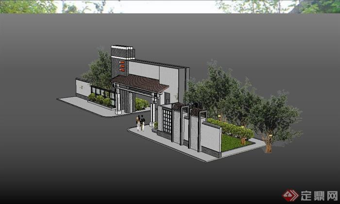 某现代中式小区大门入口设计su模型(4)图片