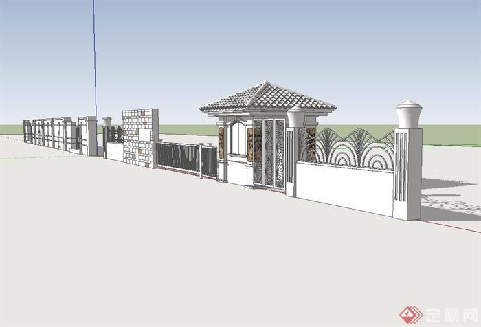 某欧式工厂大门,围墙设计su模型[原创]