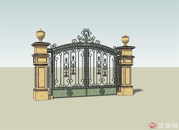 某别墅住宅欧式大门设计su模型[原创]