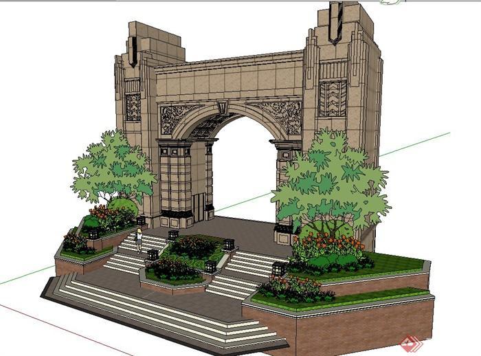欧式风格某小区入口大门设计su模型[原创]