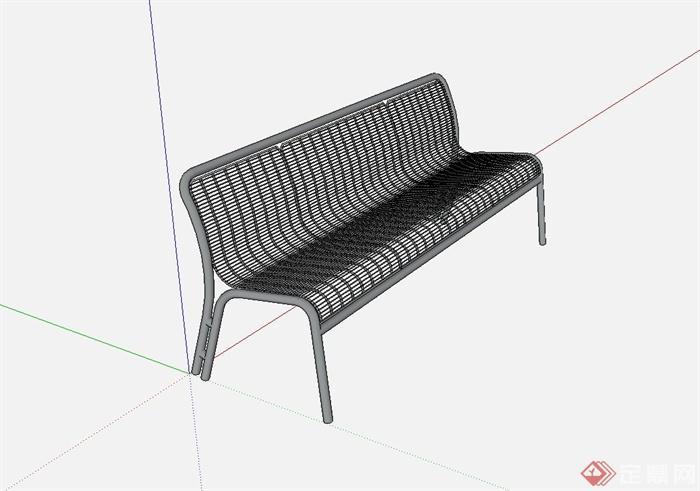 现代铁艺长坐凳设计su模型[原创]