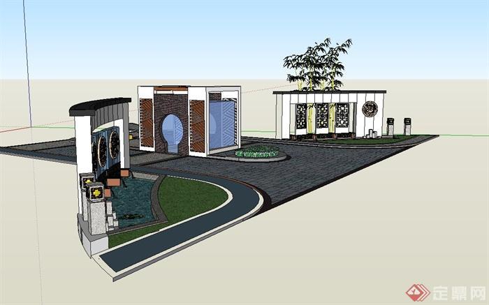 现代中式风格小区大门入口景观设计su模型(3)图片