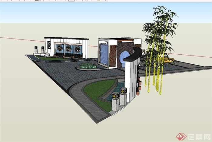 现代中式风格小区大门入口景观设计su模型(4)图片