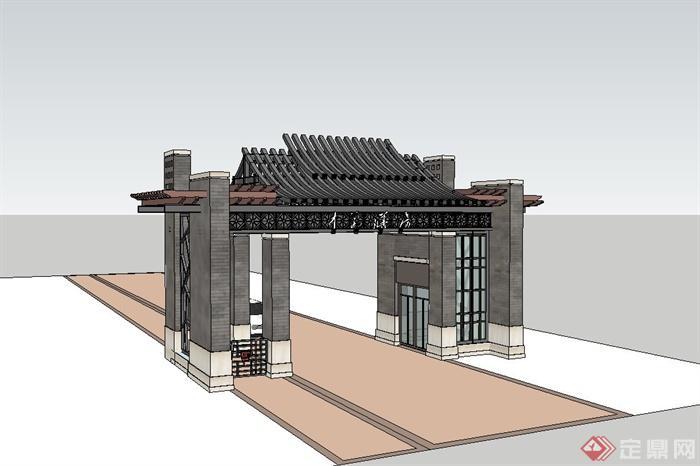 现代中式小区入口大门设计su模型(2)图片