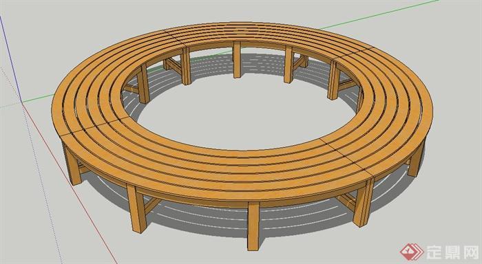 园林景观圆形木质树池坐凳设计su模型(1)