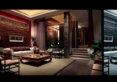 现代中式别墅室内设计cad施工图(含效果图)