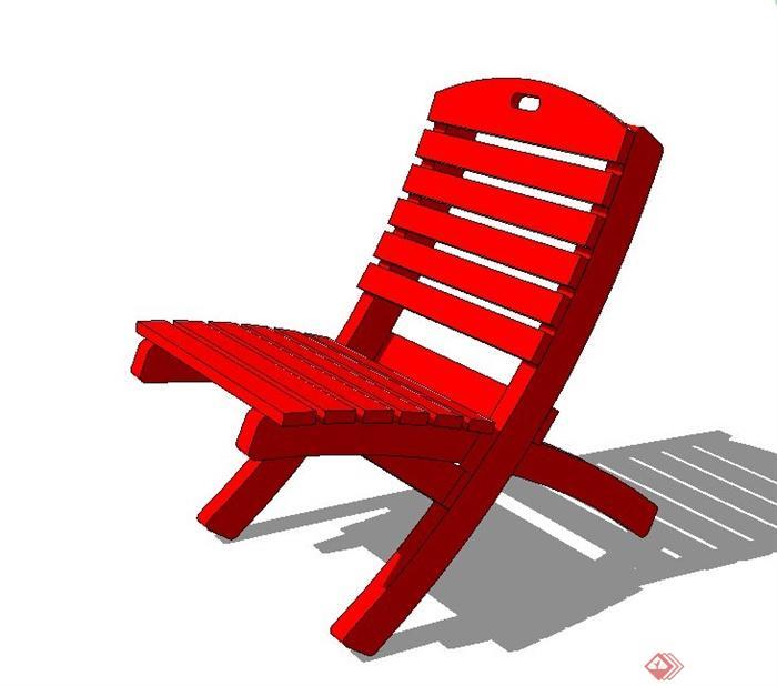 户外单人木质座椅设计su模型[原创]