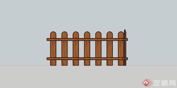 某中式木排栏杆围栏su模型