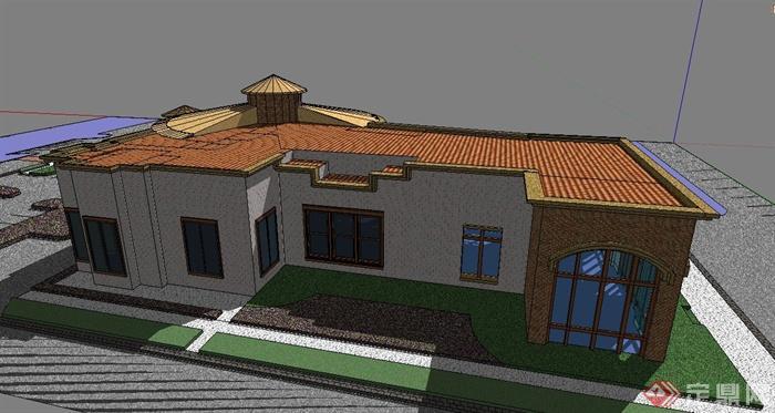 某单层欧式风格图书馆建筑设计su模型(3)