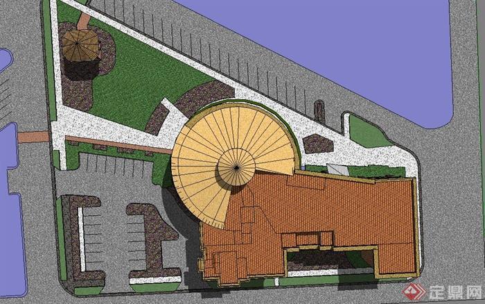 某单层欧式风格图书馆建筑设计su模型