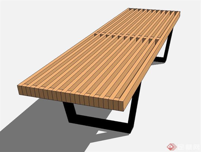 木质长条形坐凳设计su模型[原创]