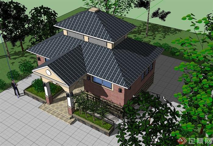 欧式风格某公园厕所建筑设计su模型(3)