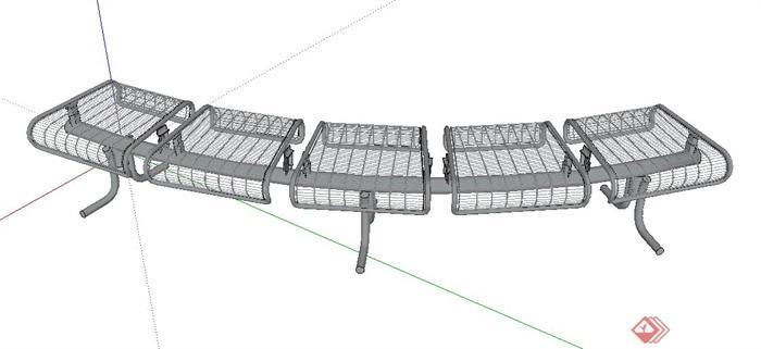 室外铁艺五人弧形坐凳设计su模型(1)