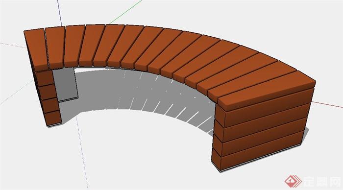 弧形坐凳设计su模型(1)