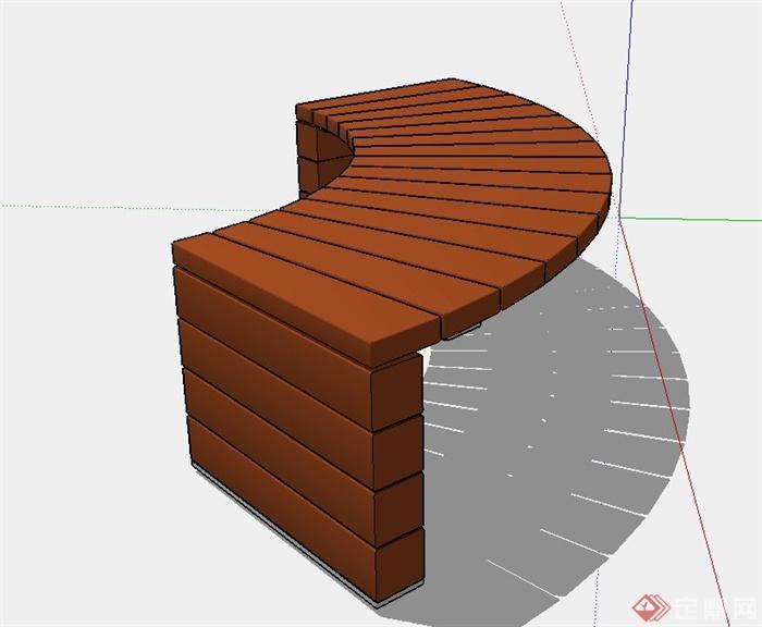 弧形坐凳设计su模型(2)