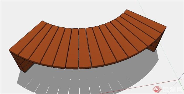 弧形坐凳设计su模型(3)