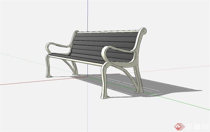 某欧式户外长条椅子设计su模型[原创]
