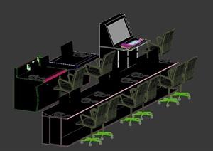现代某公司办公室桌椅设计3DMAX模型