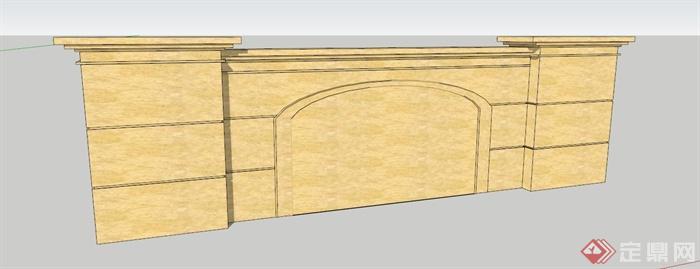 某欧式石材景墙su模型(1)
