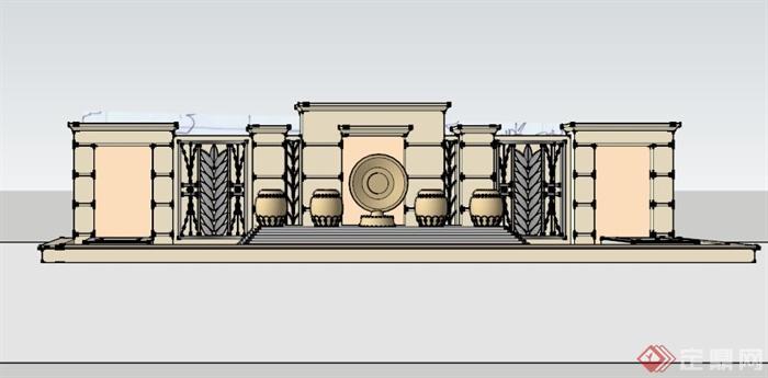 某欧式水池景墙设计su模型(3)