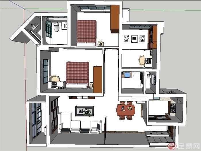 三室两厅住宅空间设计su模型[原创]