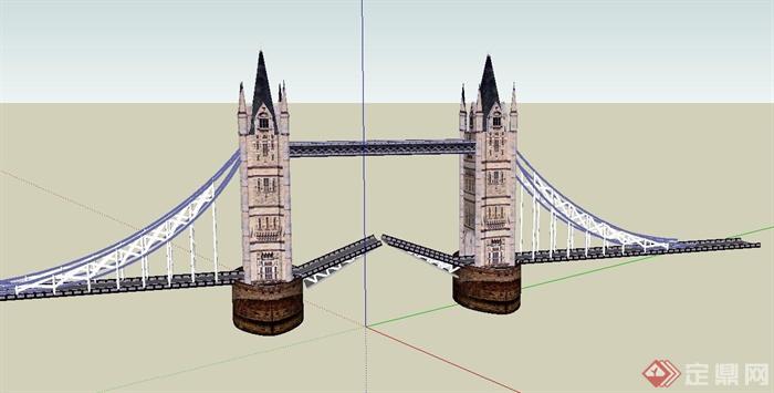 欧式风格建筑大桥设计su模型