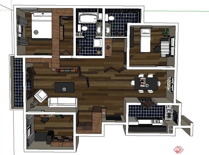 某三室一厅现代风格住宅室内装修设计su模型