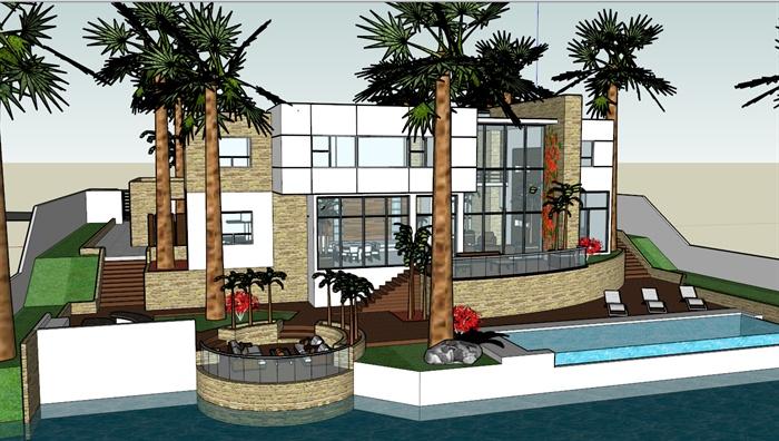 东南亚海景别墅建筑设计sketchup模型1