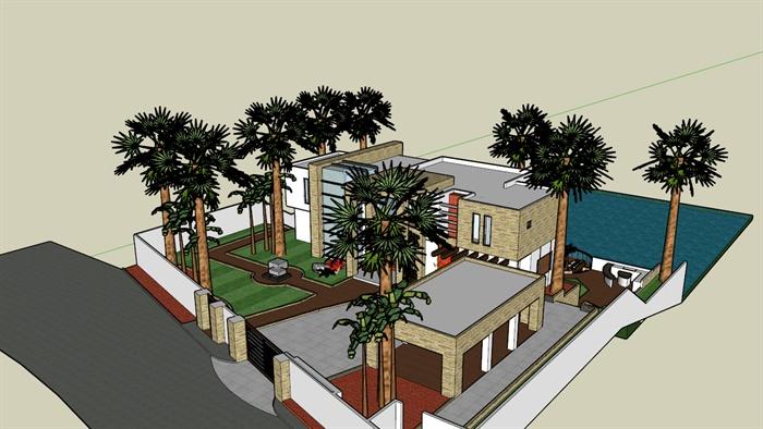 东南亚海景别墅建筑设计sketchup模型3
