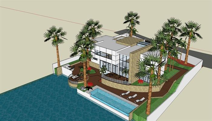 东南亚海景别墅建筑设计sketchup模型4