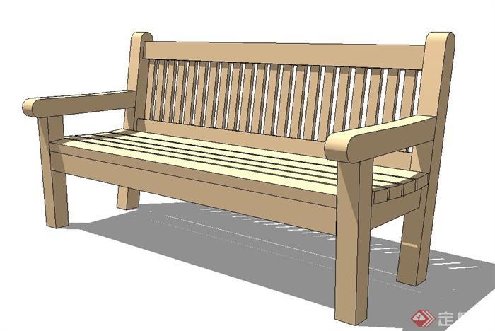 木质长条座椅设计su模型(1)