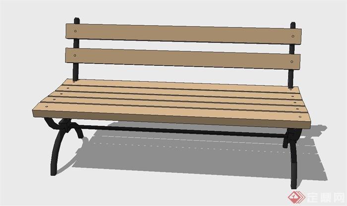 户外简易木质座椅设计su模型[原创]