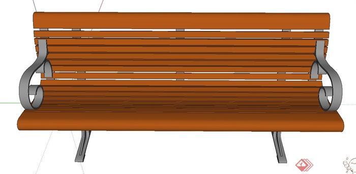 户外木质钢架结构座椅设计SU模型