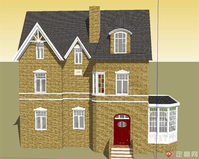 英式简单三层小别墅建筑设计SketchUp模型图片