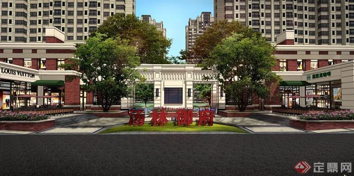 某高层住宅小区入口大门设计SU模型 PSD效果图