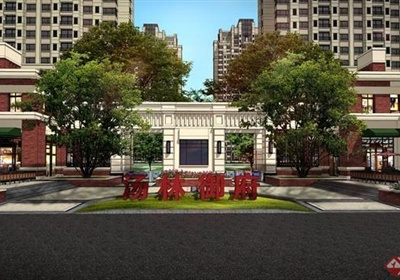 某高层住宅小区入口大门设计SU模型+PSD效果图