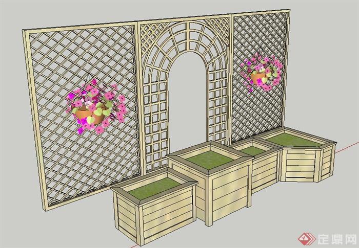 园林景观木质花格栅设计su模型(2)